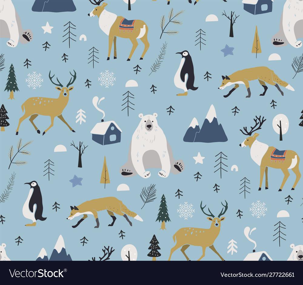Merry christmas winter pattern seamless pattern
