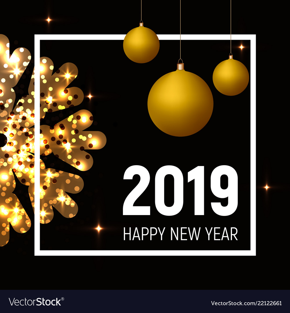 New year 2019 poster golden balls and snowflake