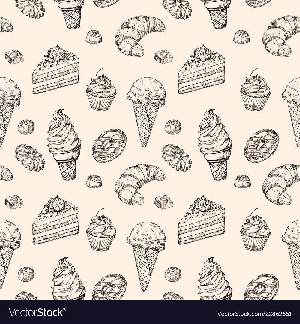 Sketch dessert seamless background cakes sweets