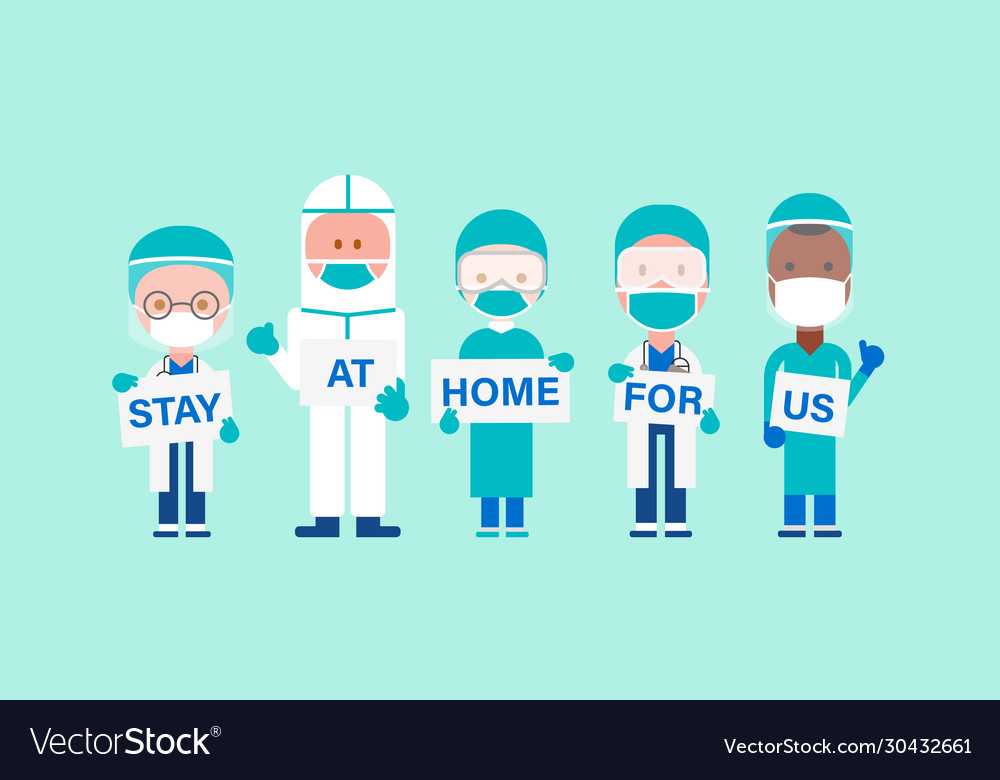 Team doctors with hand placard text stay