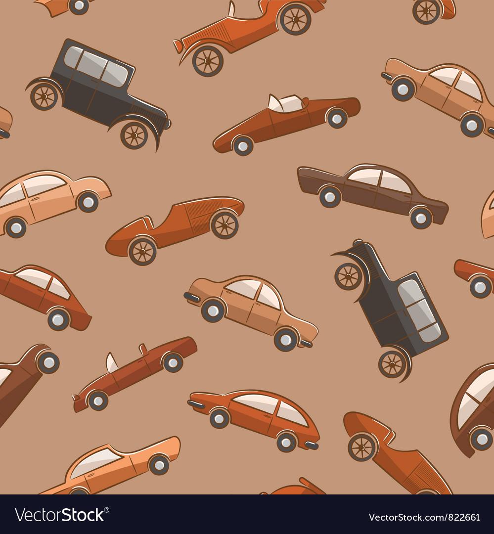 Vintage cars pattern vector image