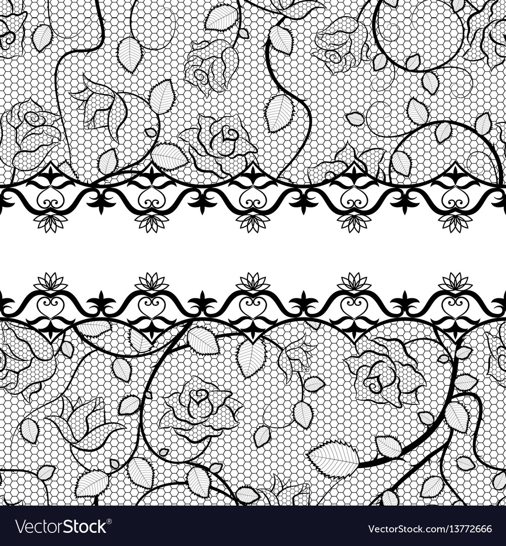 Black lace seamless pattern with roses