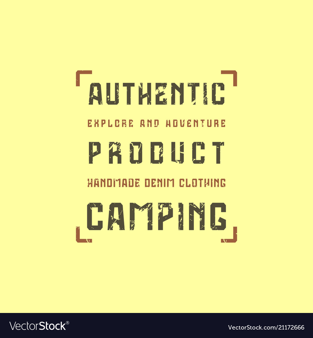 Camping typographic emblem with rough texture