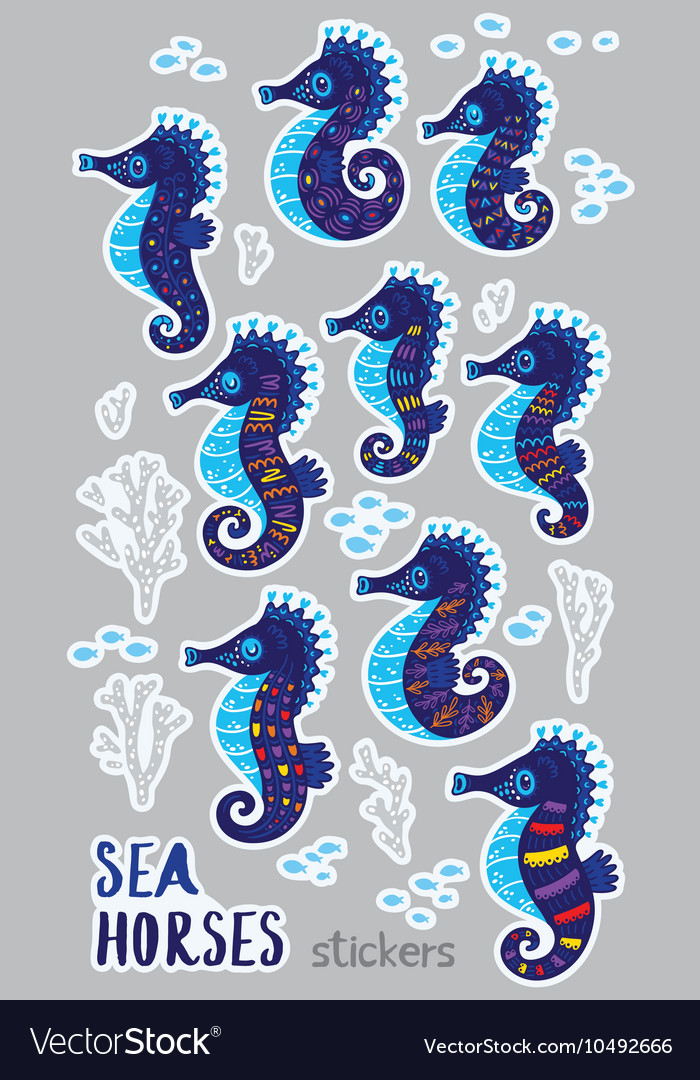Collection of stickers with cute seahorses cartoon
