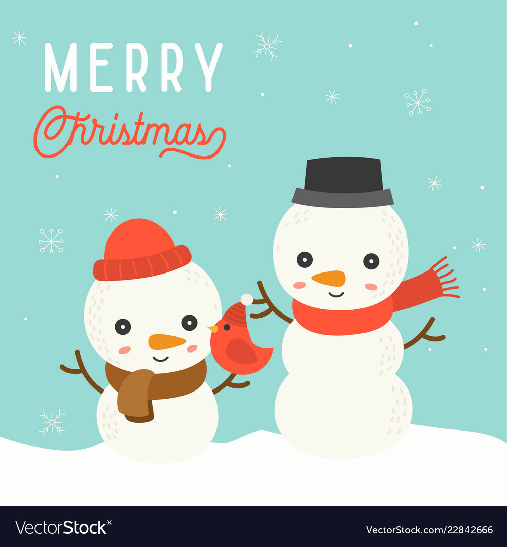 cute snowman christmas in winter theme with vector image