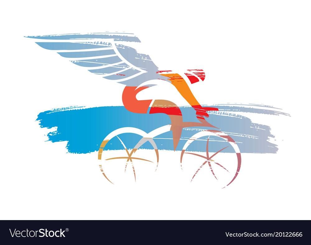 Cyclist with wings expressive stylized vector image