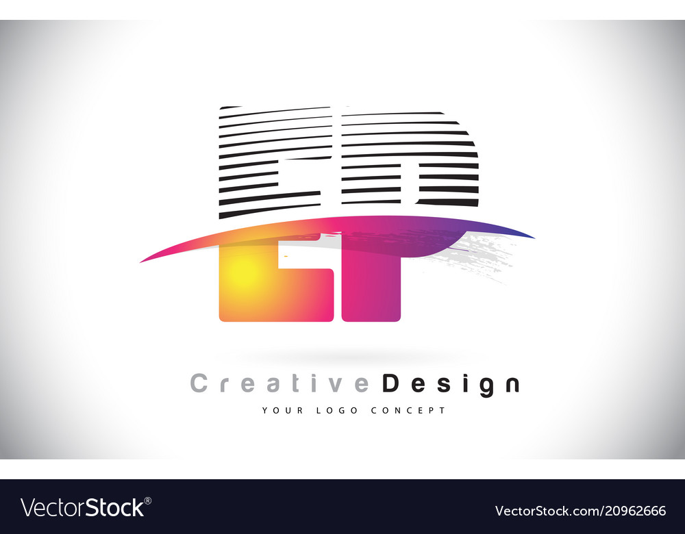 Ep e p letter logo design with creative lines and
