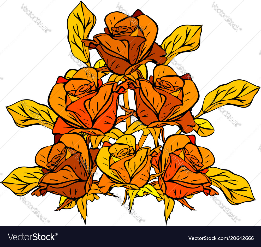 Hand-drawn bouquet of yellow roses with yellow