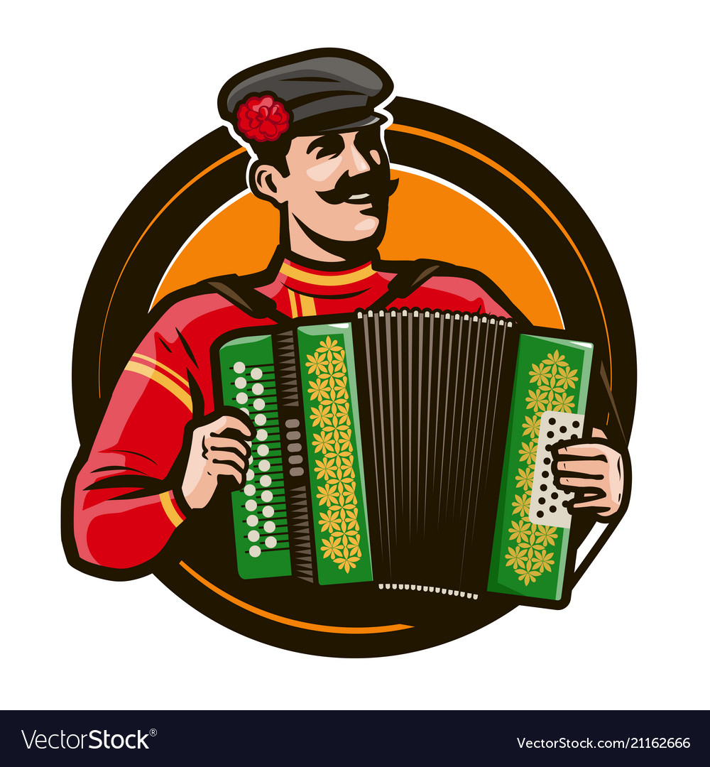 Happy accordion player in the national costume