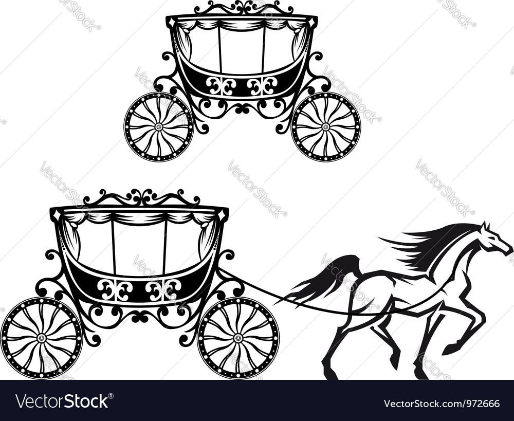 Horse with old carriage vector image