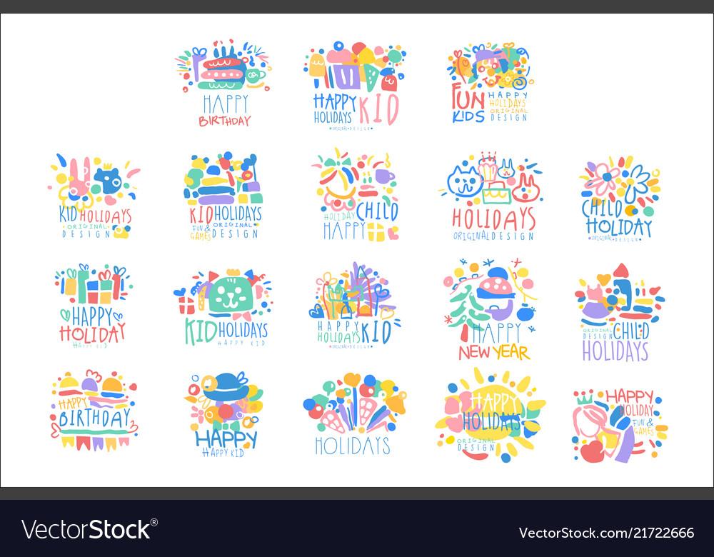 Kid holidays happy birthday logo template
