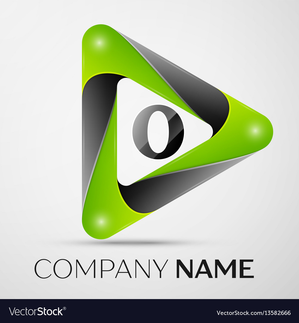 Letter o logo symbol in the colorful triangle on