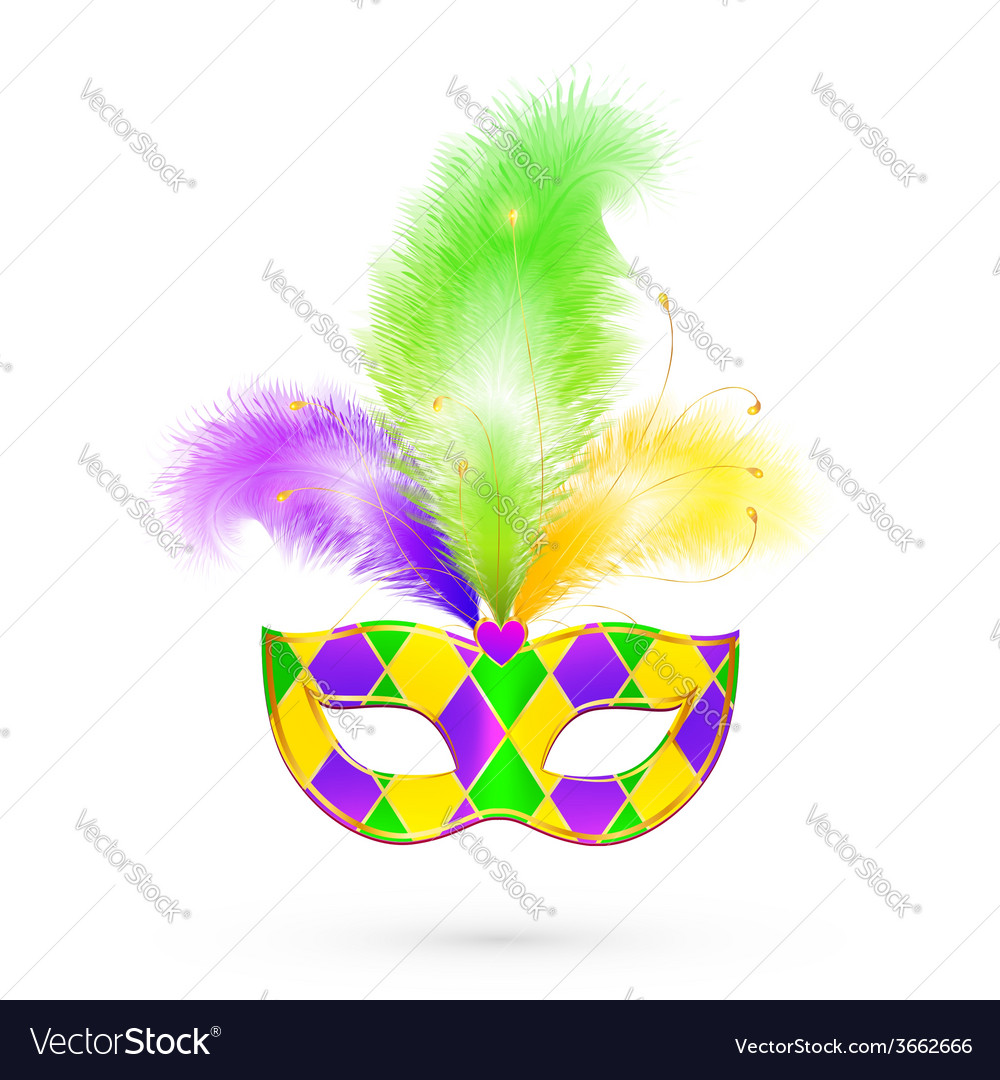 Mardi Gras traditional colors mask