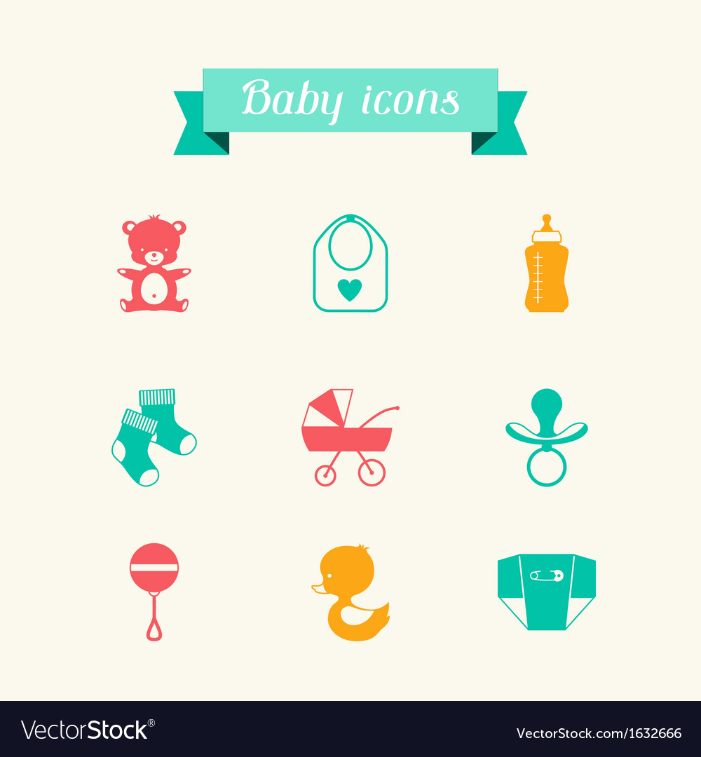 Newborn baby icons set in flat design style