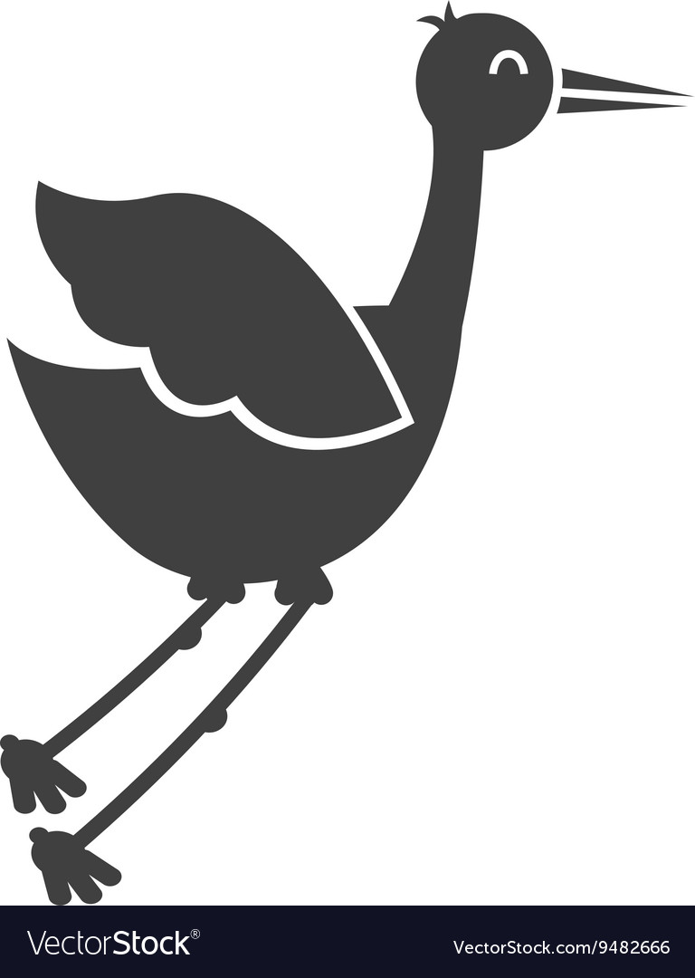 Stork flying isolated icon design