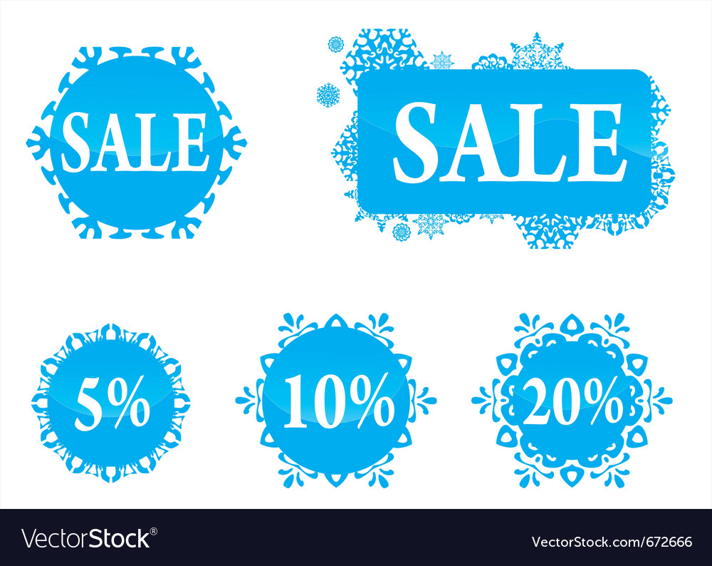 Winter christas new year sale labels set