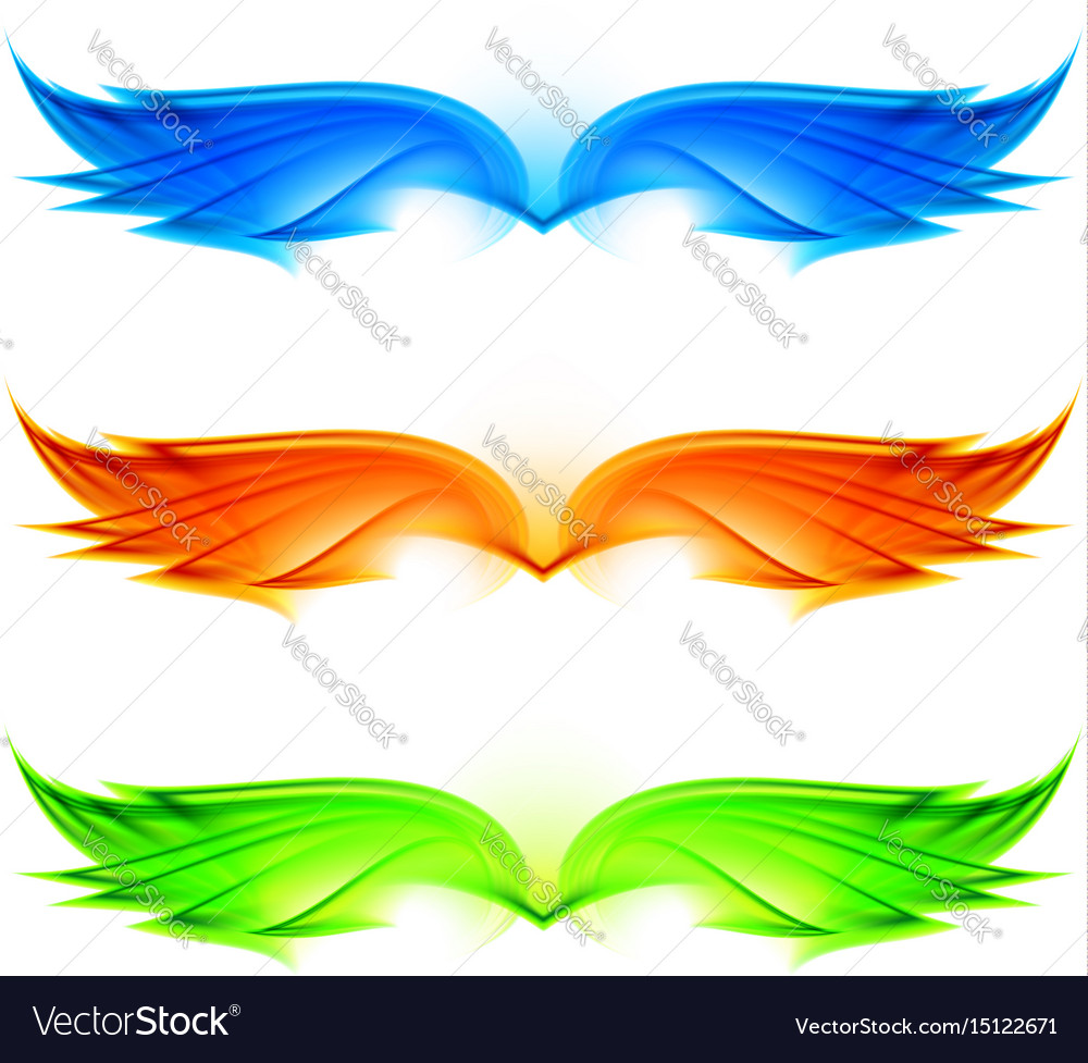 Abstract wings set on white background