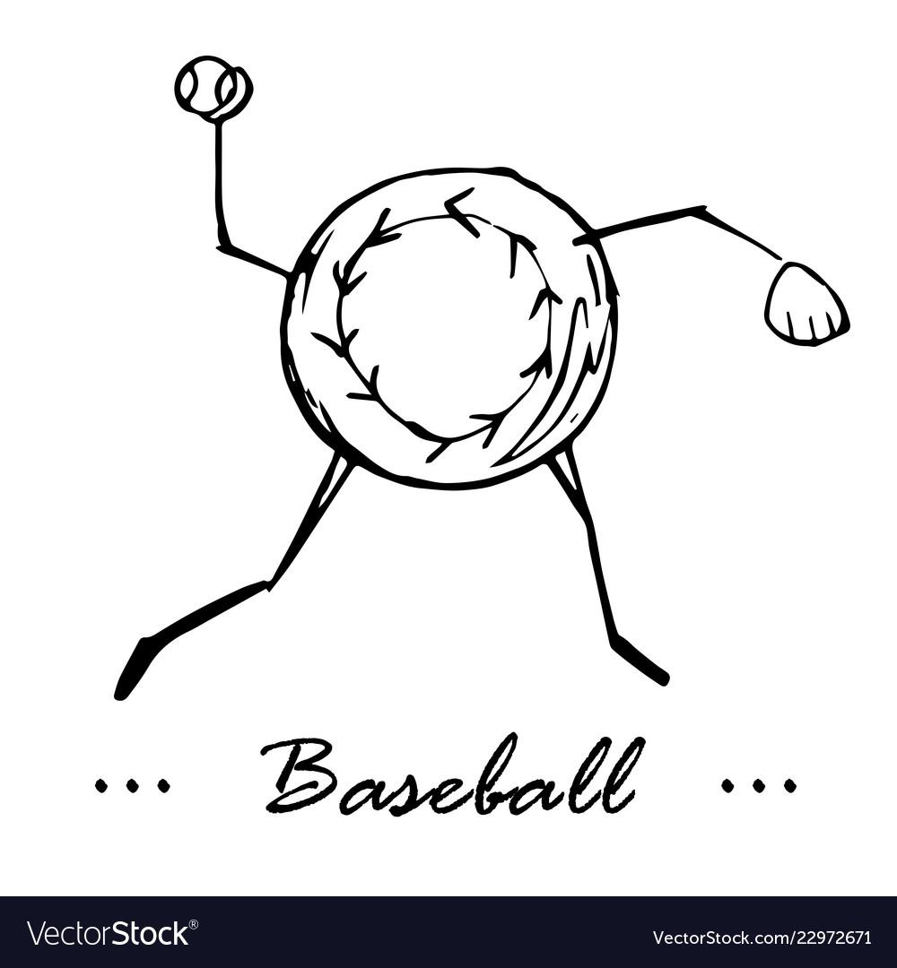 Baseball game cartoon character of a