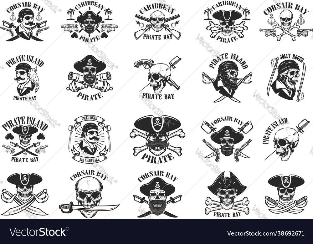 Big set pirate emblems corsair buccaneer