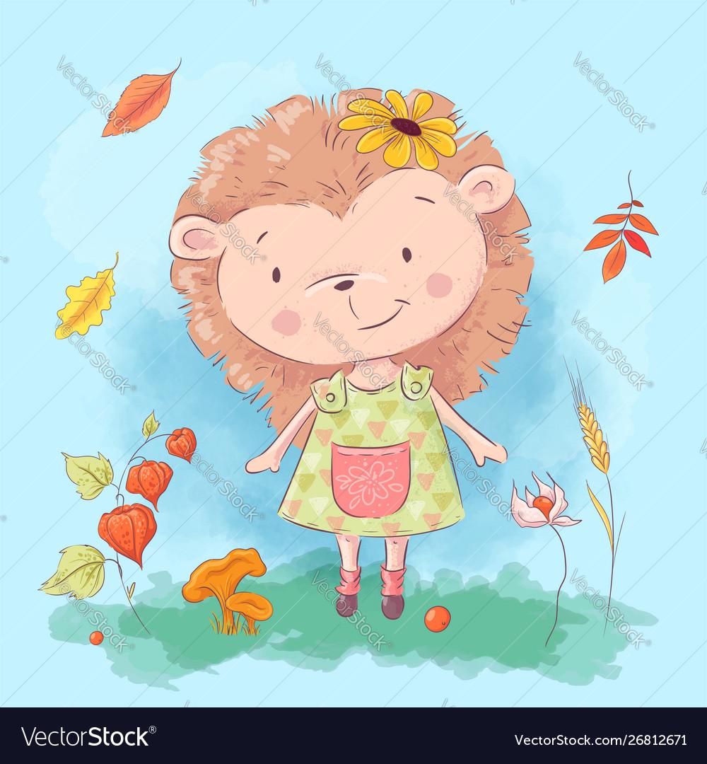 Cartoon cute hedgehog and autumn leaves and