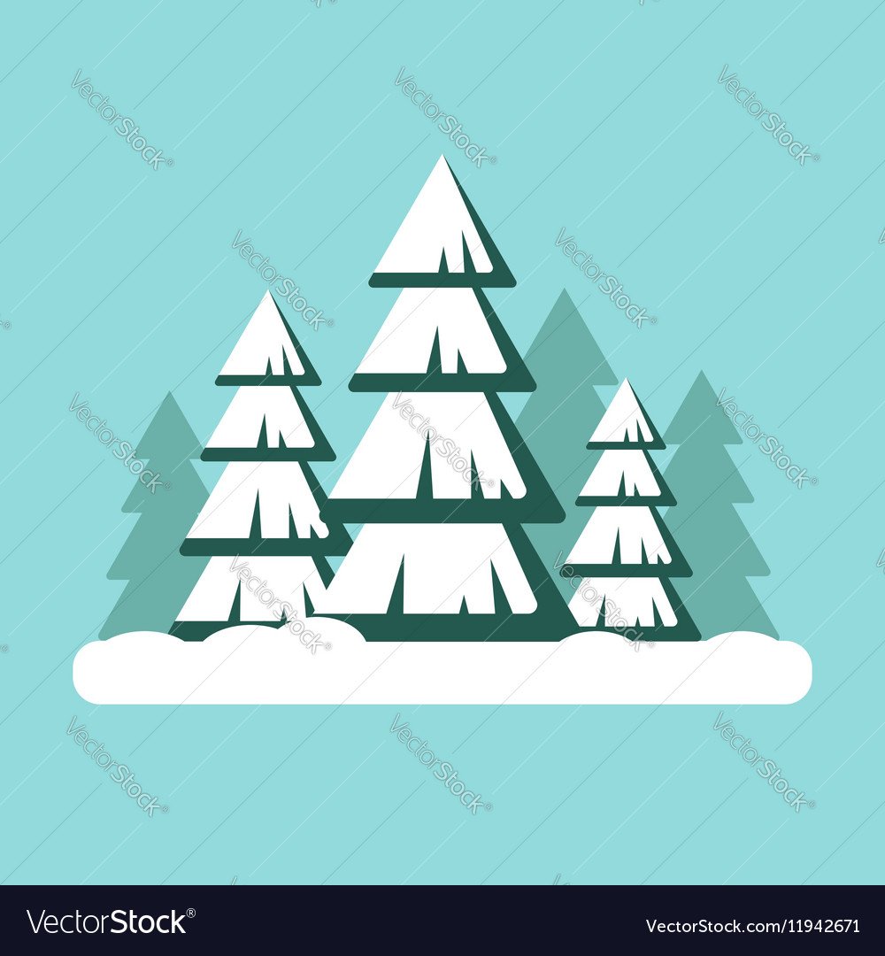 Christmas tree with snow Snowy forest landscape