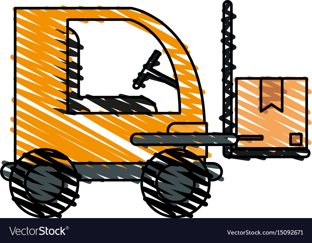 Color crayon stripe cartoon forklift truck with