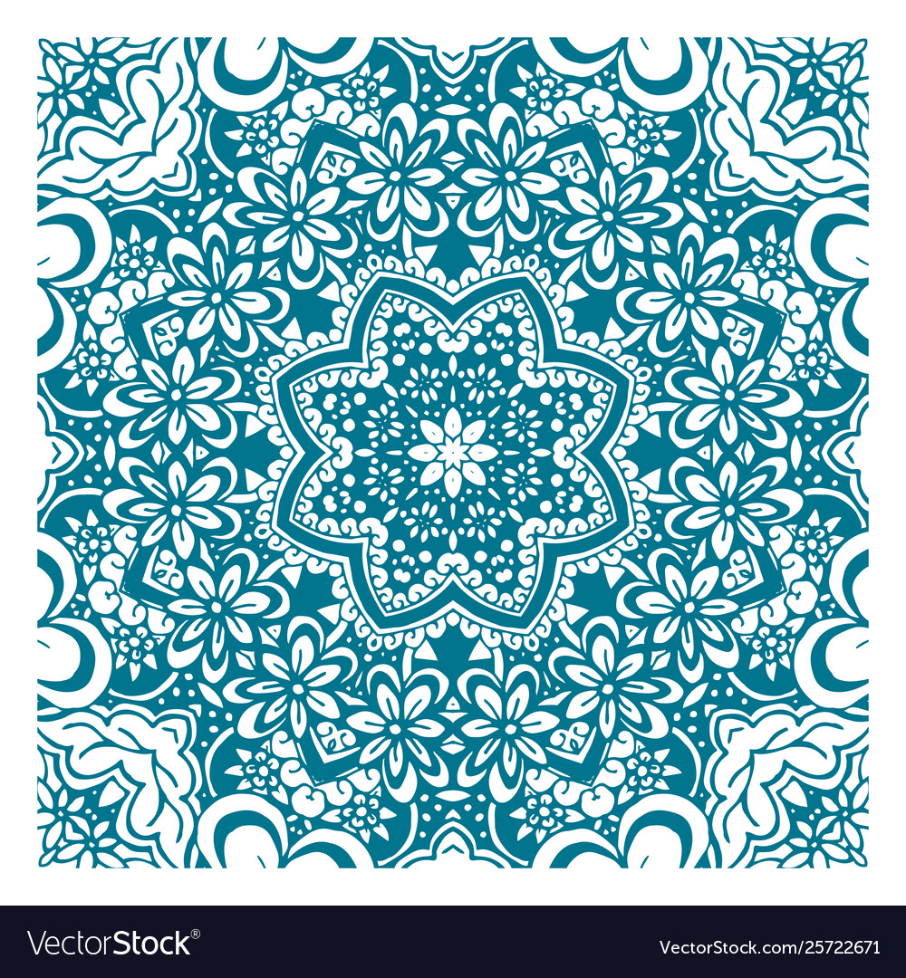 Coloring book page with pattern mandala ethnic