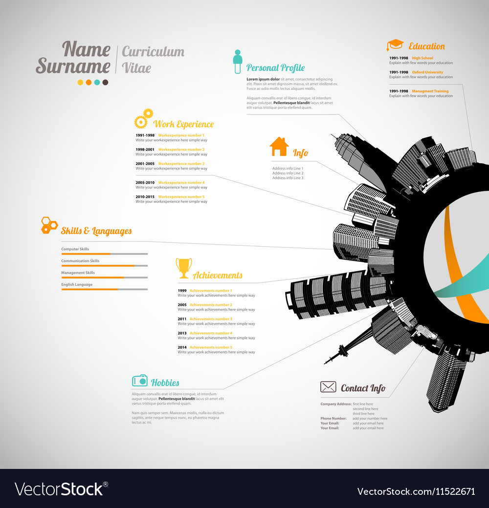 Creative Curriculum Vitae Template With Black Vector Image