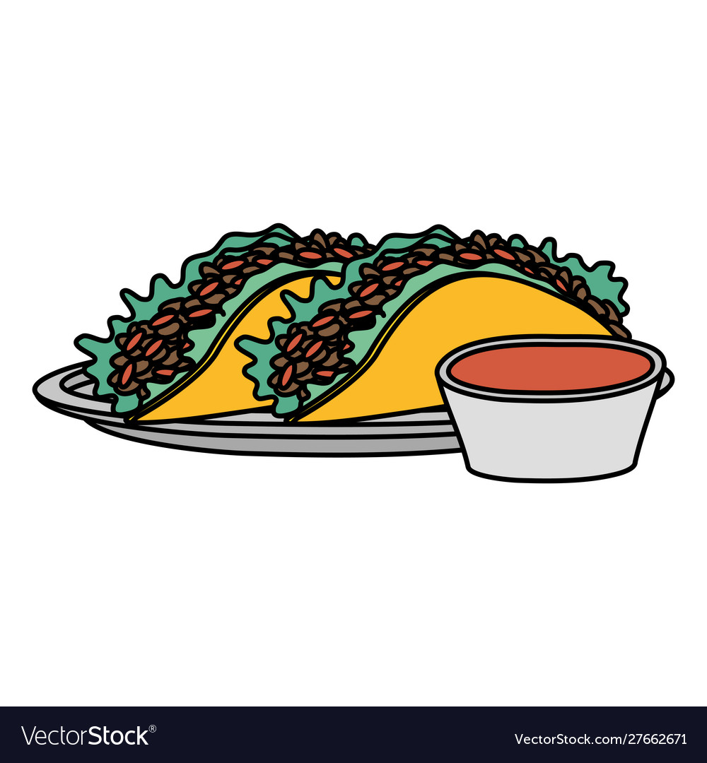 Delicious Mexican Tacos With Sauce Hot Royalty Free Vector