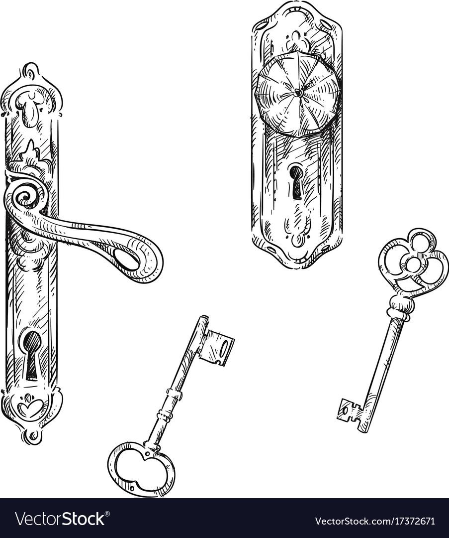 Door handles and keys vector image