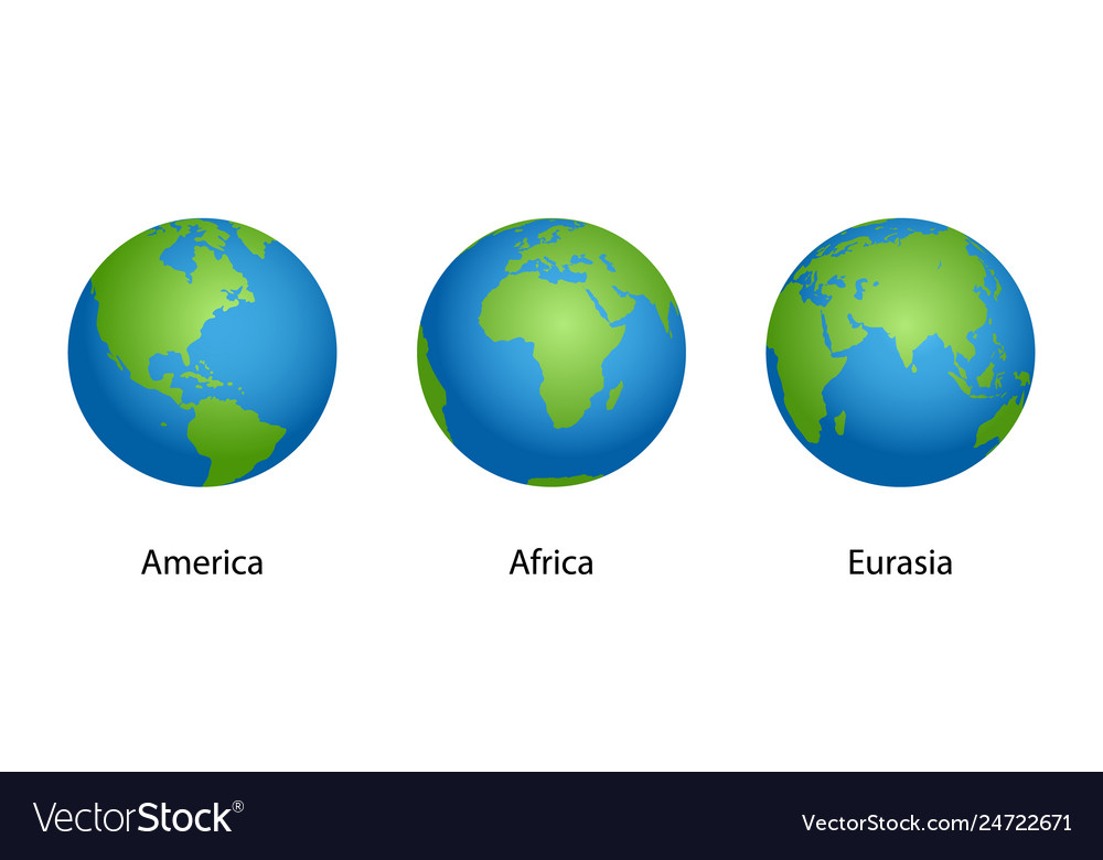 Earth with 3 angles globe isolated on white