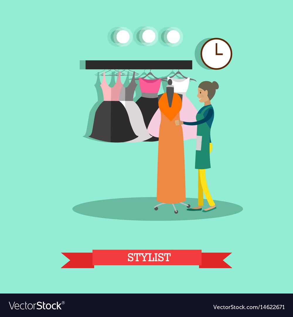 Flat style of stylist fashion