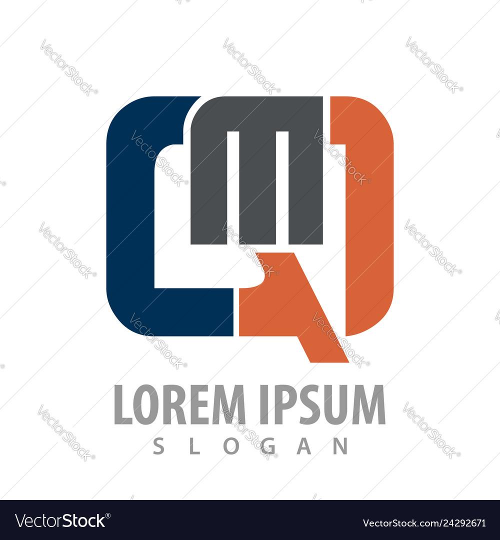 Initial letter qm logo concept design symbol
