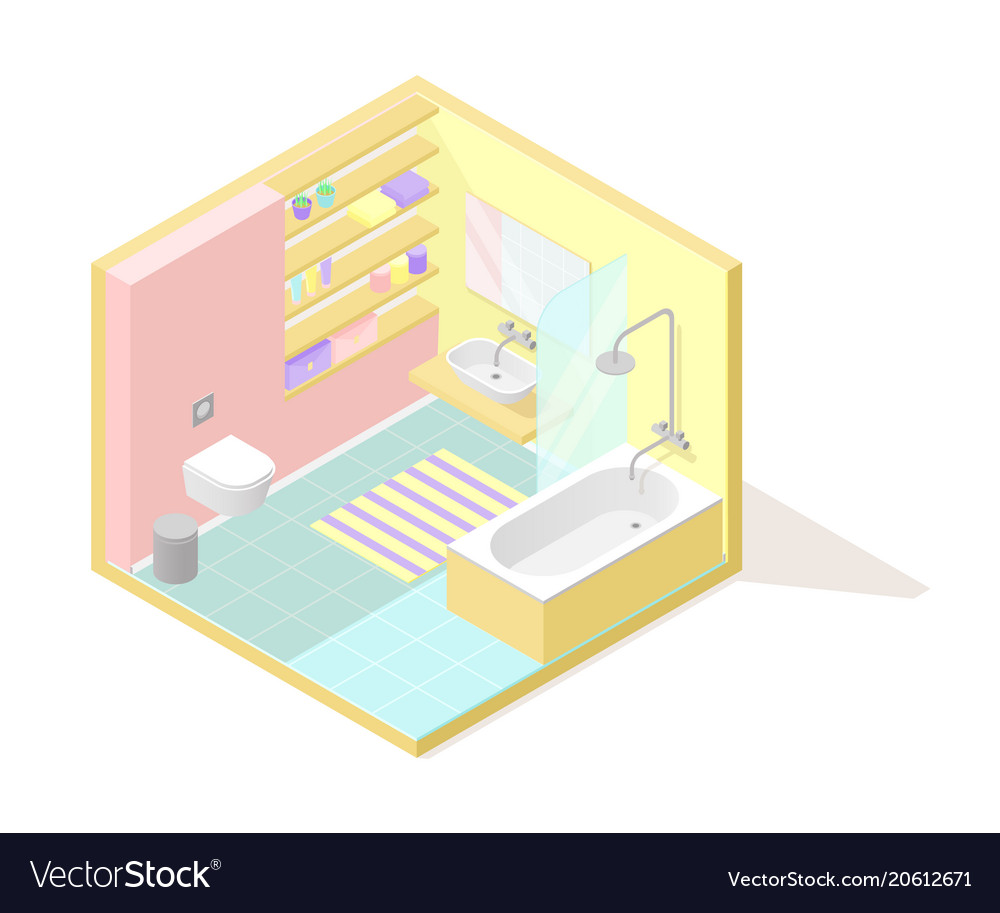 Isometric low poly cutaway interior