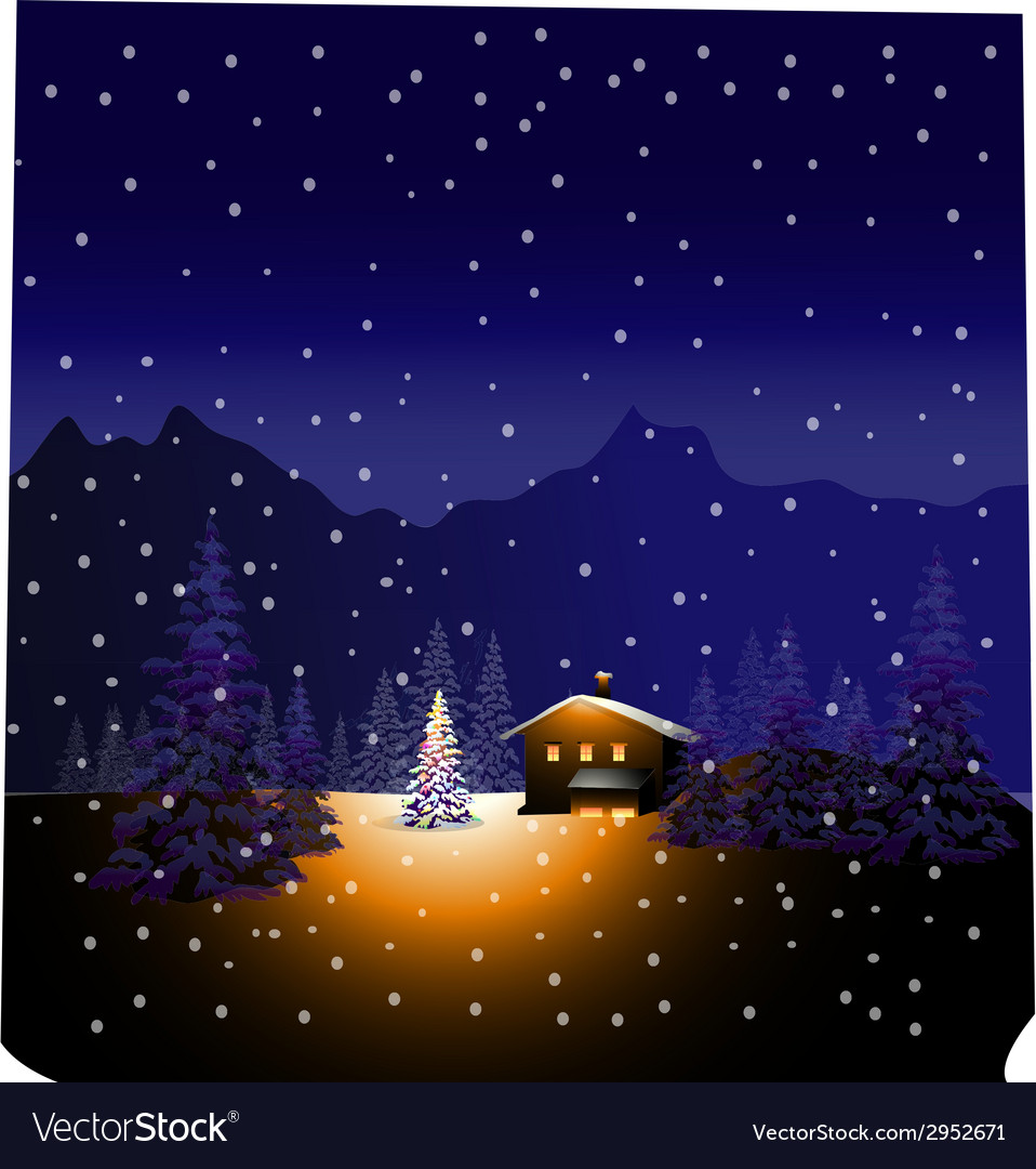 Merry Christmas and Winter landscape