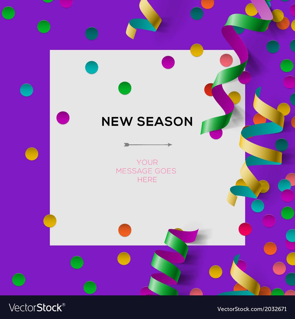New season invitation template with party confetti