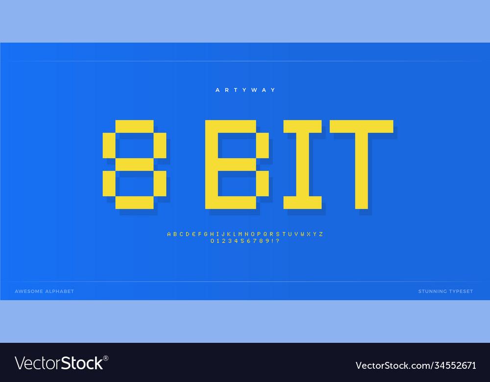Pixel alphabet retro 8-bit font type for retro