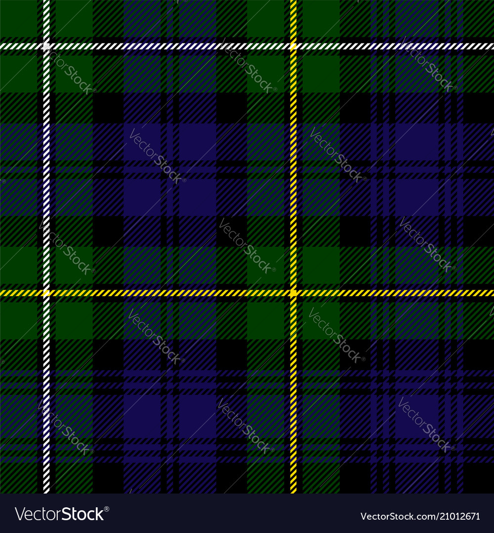 Scottish plaid in green black blue