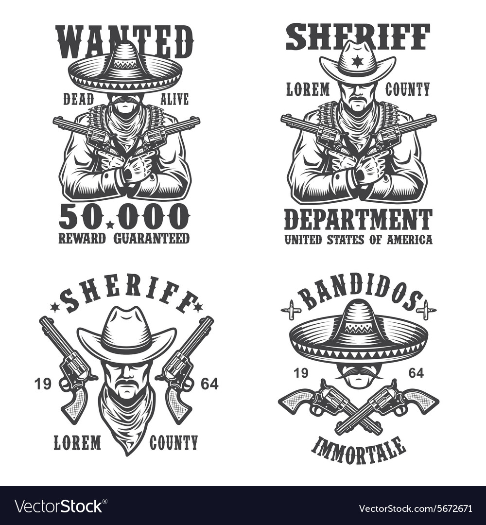 Set of sheriff and bandit emblems vector image