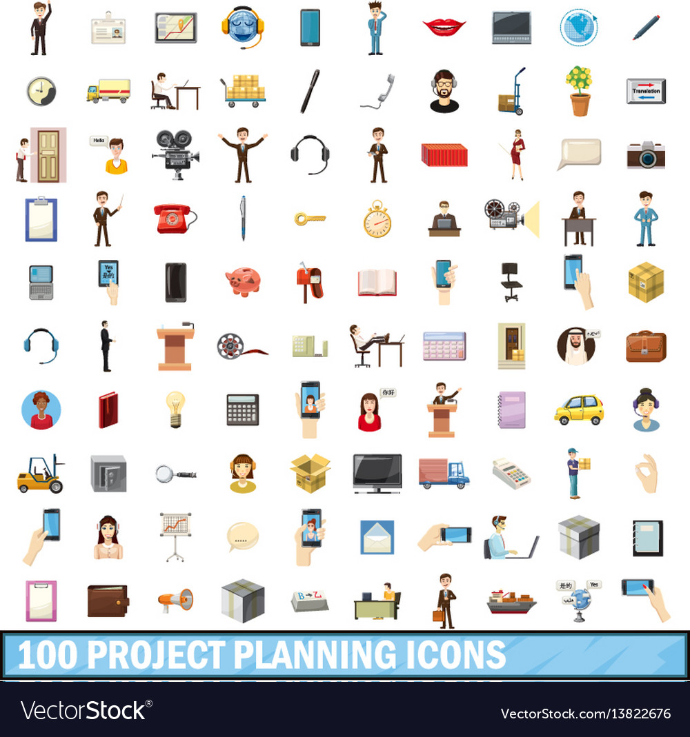 100 project planning icons set cartoon style