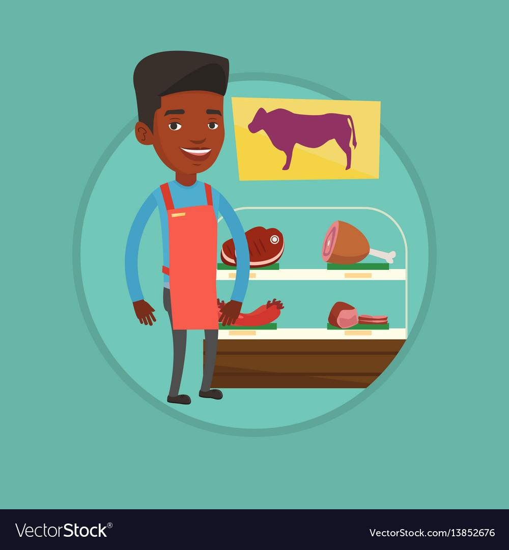 Butcher offering fresh meat in butchershop
