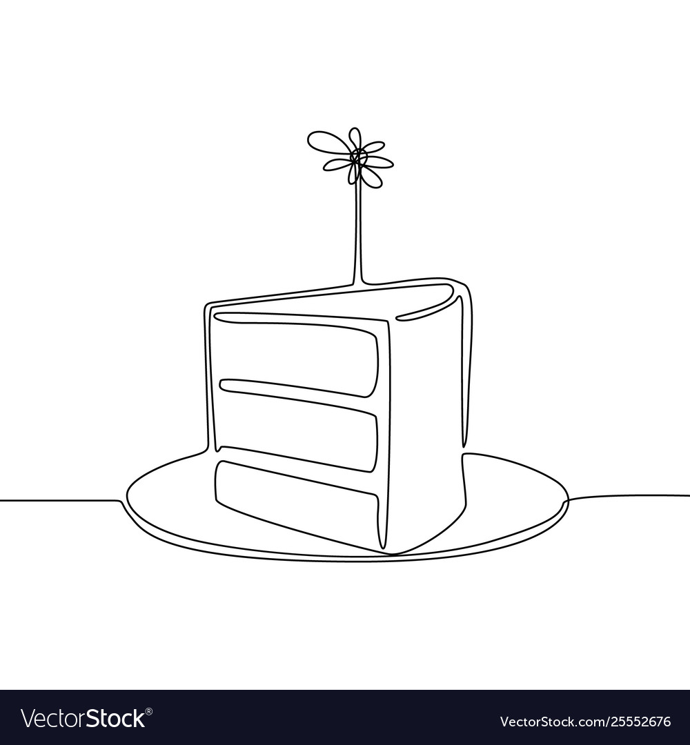 Continuous line piece cake with candle