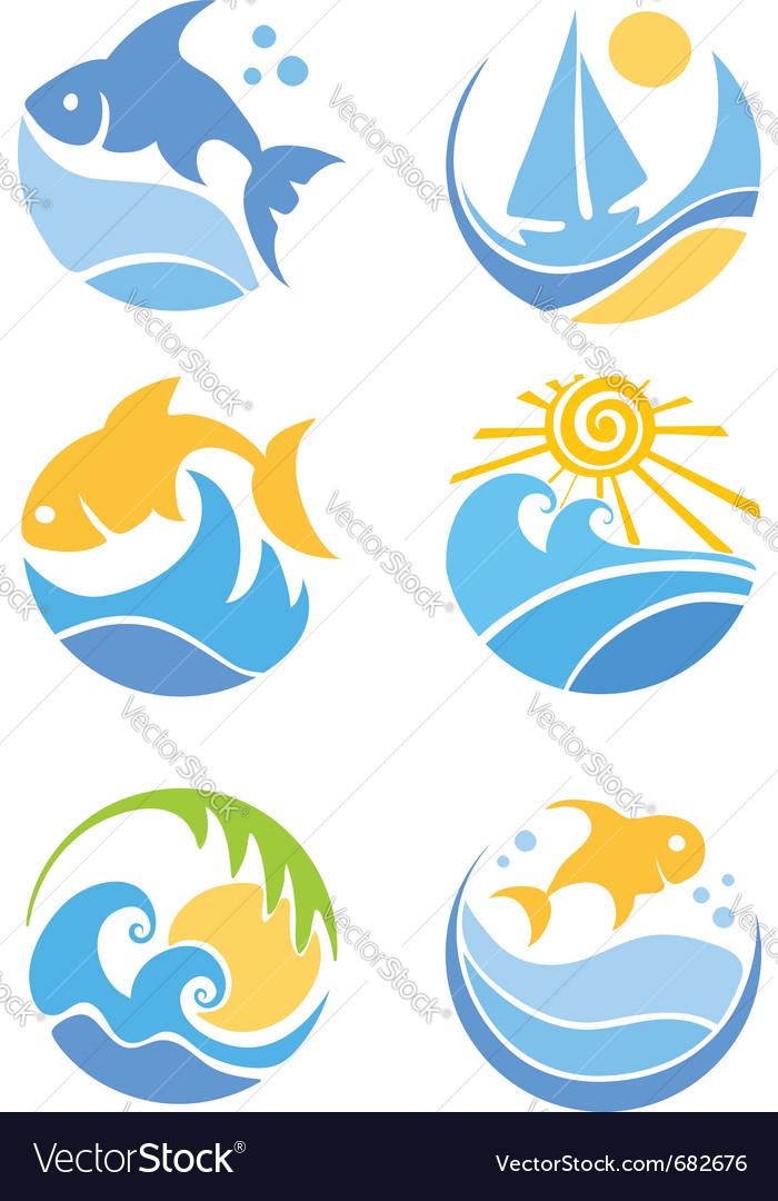 fish and sea royalty free vector image vectorstock rh vectorstock com sea vector free sea vector free