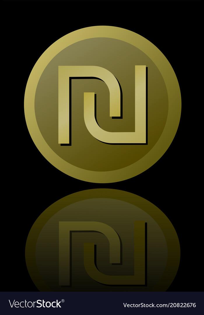 Israeli Currency Shekel Symbol Elegant Royalty Free Vector