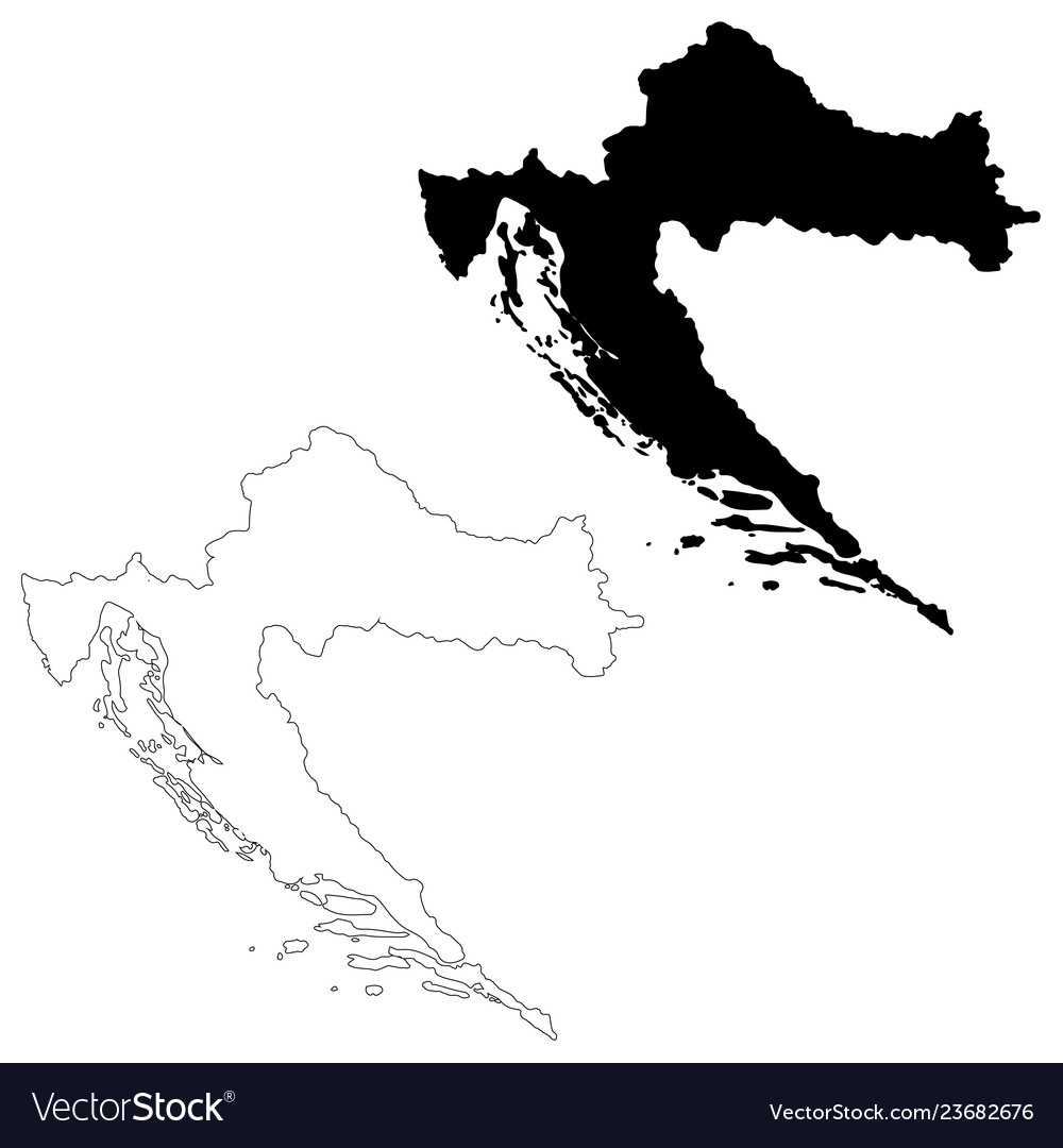 Map croatia isolated black