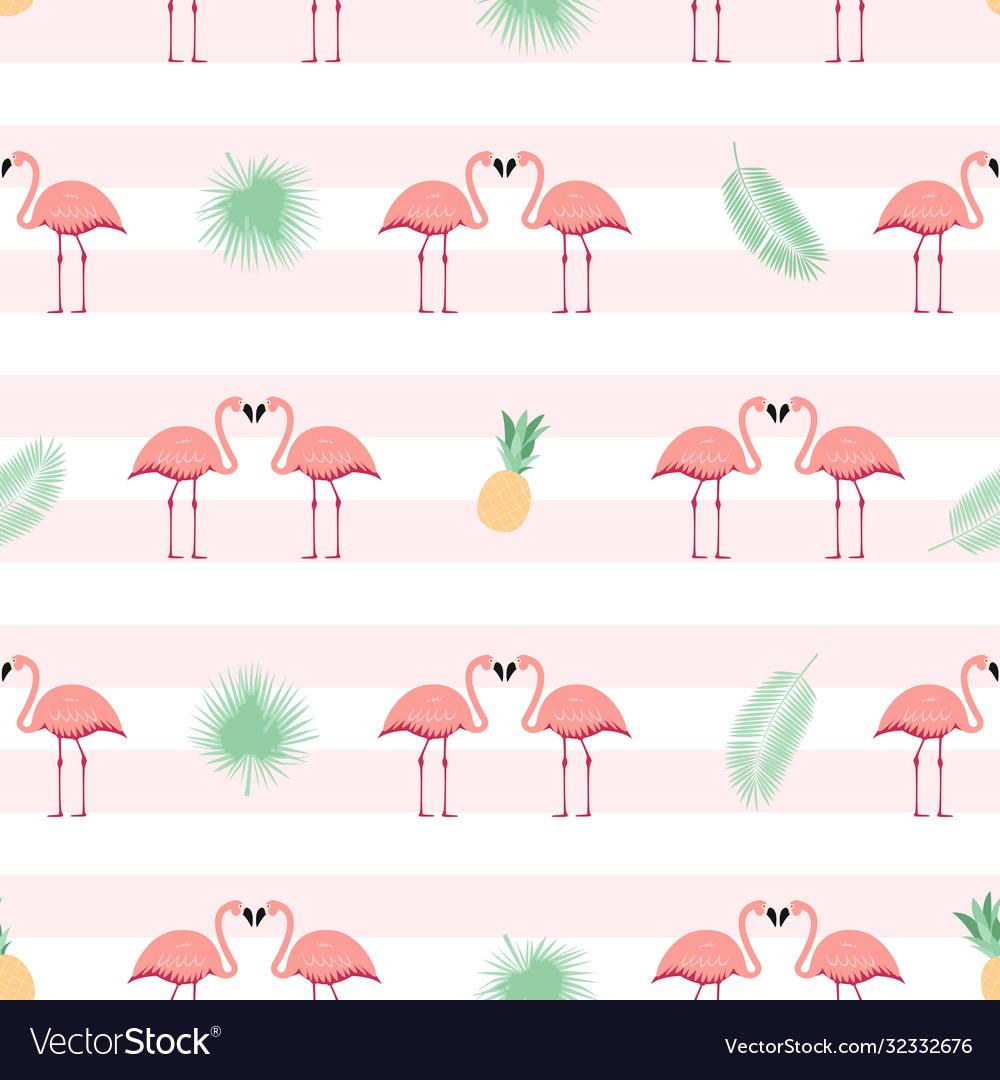 Pink flamingo seamless pattern background