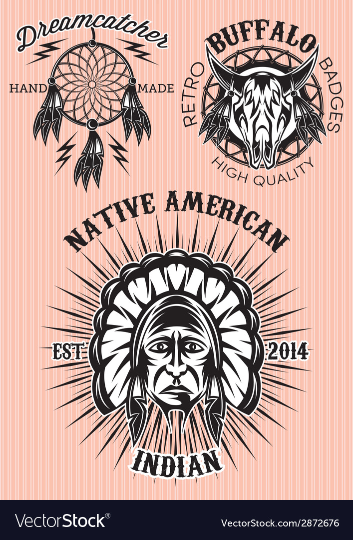 Set of emblems on the theme of native american