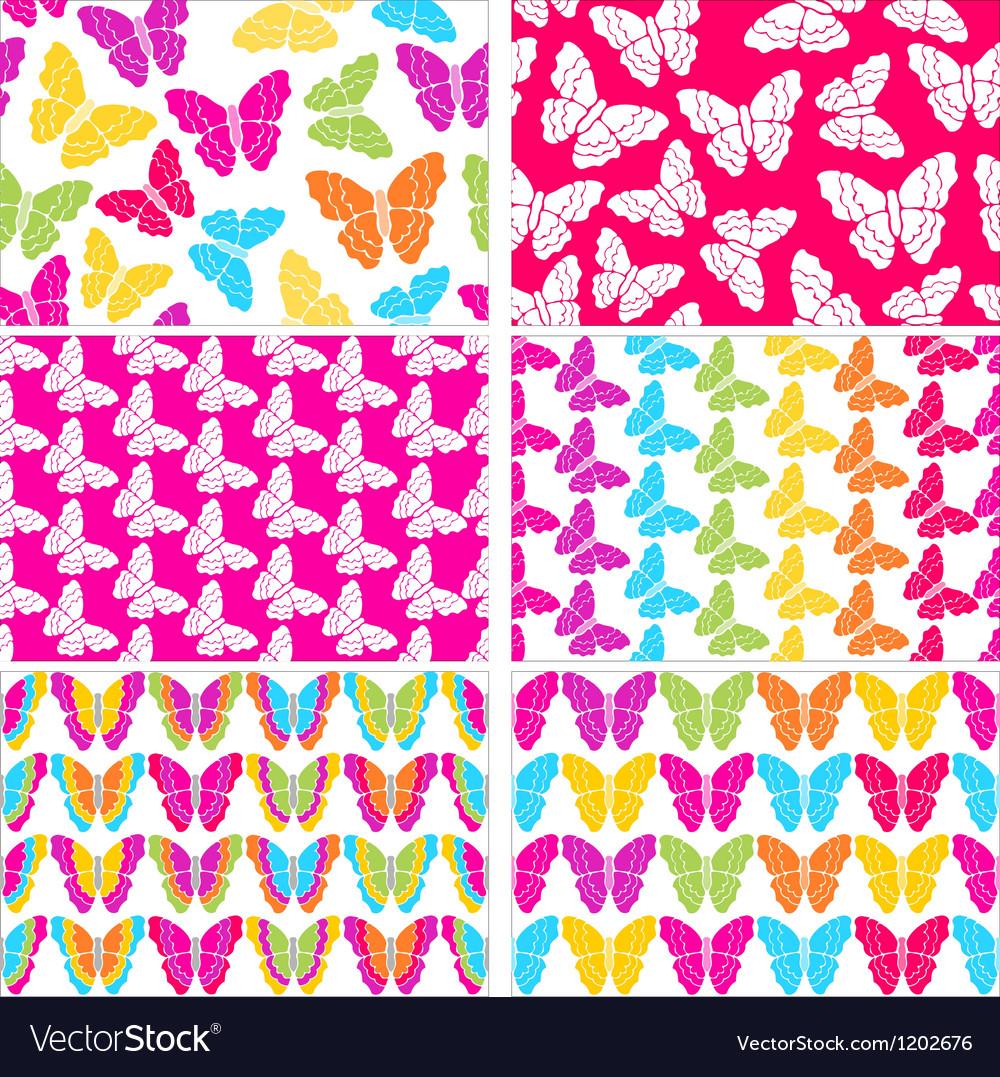 Set Of Six Seamless Butterflies Backgrounds Vector Image