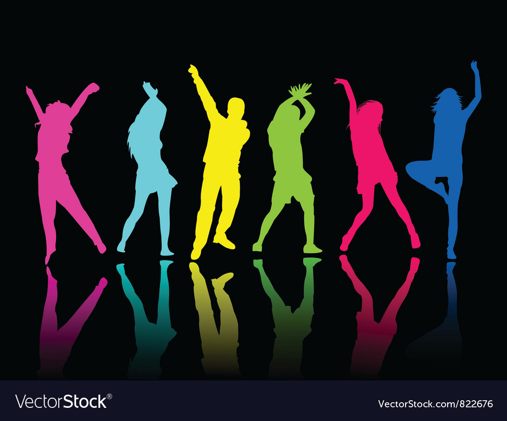Silhouette people party dance vector image