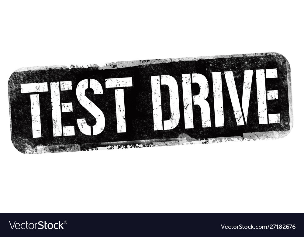 Test drive sign or stamp
